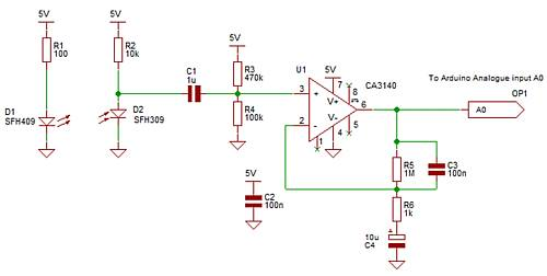 Easily make an IR Pulse Rate Sensor with one opamp, an ...