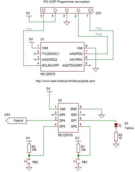 12F675 Calibration OSCCAL schematic