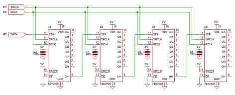 ic 74hc595 shift register connecting 4 together