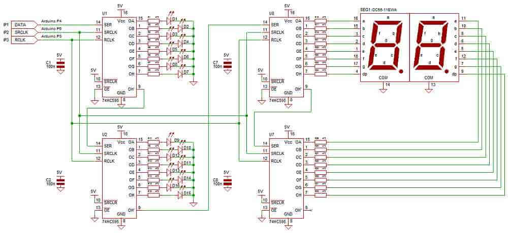 74hc595 additionally Using Arduino Uno As Isp as well Tutorial Arduino 0008 Matriz Led 8x8 Bicolor 74ch595 besides The Serial Monitor furthermore Connect Multiple L293d Motor Controllers To Arduino. on arduino shift register