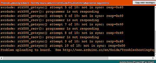 programming failure bare board Arduino