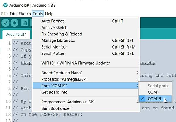 arduino isp board port and chip settings for arduino nano