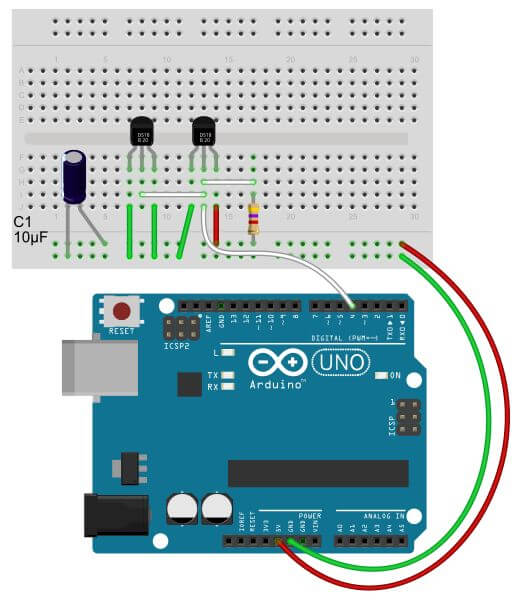 How to use a ds b on the arduino for easy temperature