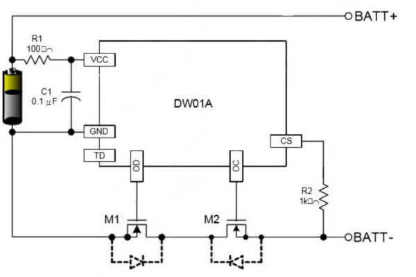 DW01A typical lithium battery protection circuit