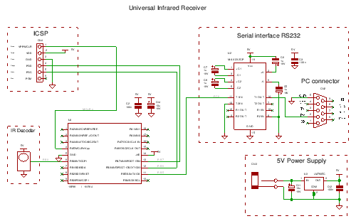 Infrared receiver remote receiver schematics