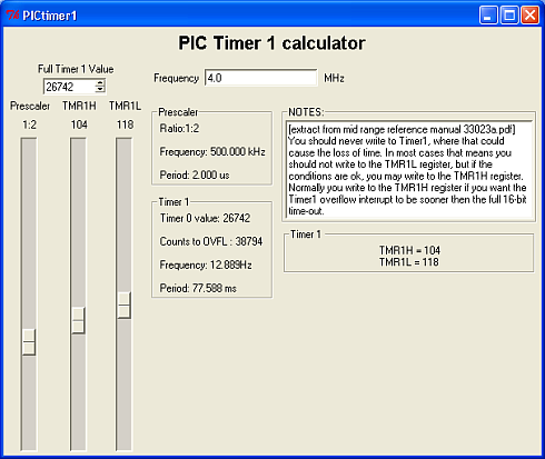 PIC Timer 1 calculator