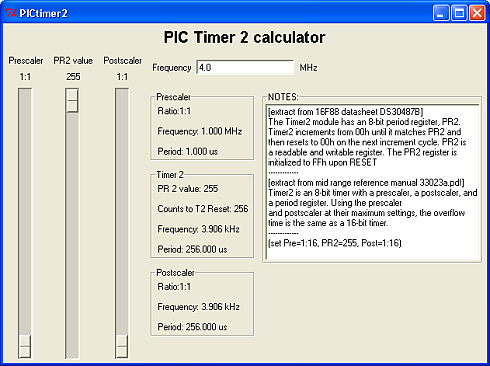 PIC Timer 2 calculator