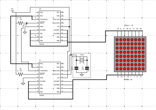 Scrolling message display using two pic16f84a chips pic16f84a 16f84 scolling led message display ccuart Choice Image