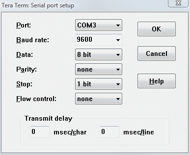 Tera term port setup