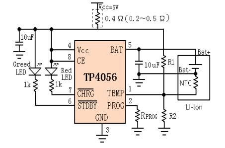 Typical circuit for tp4056